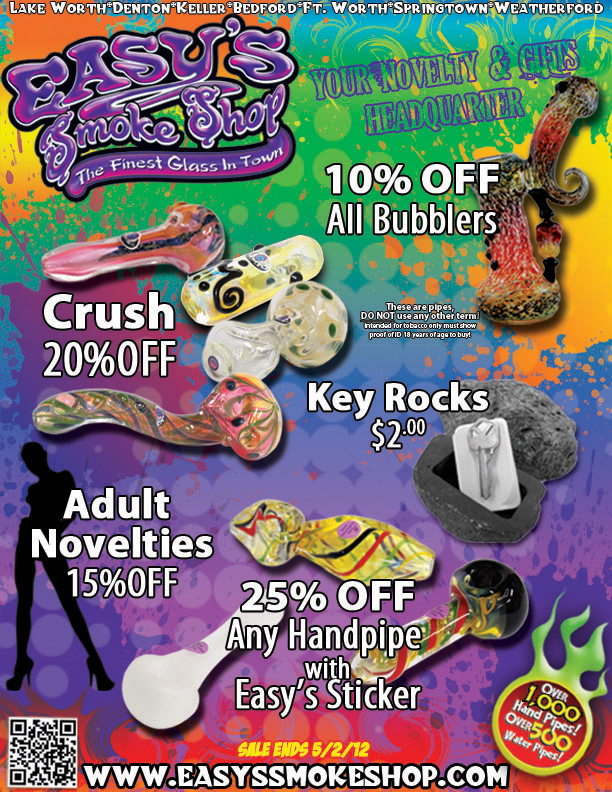 Water Bubblers and Crush Pipe Discounts at Easy's Smoke Shop