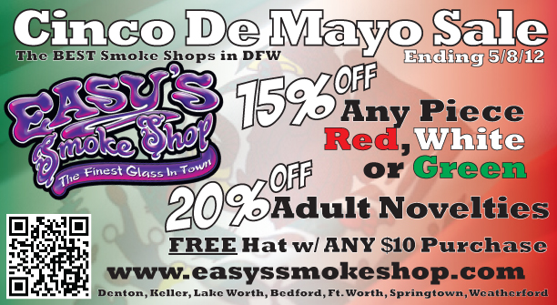 Adult Novelty and Glass Pipe Cinco De Mayo Sale at Easy's Smoke Shop