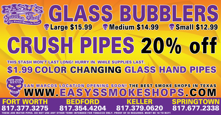 Bubblers, Crush Pipes and Hand Glass Pipes on Sale at Easy's Smoke Shop