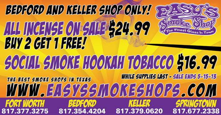 Easy's Smoke Shop Incense Sale
